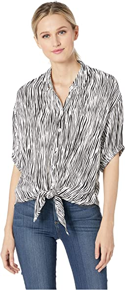 Mini Zebra Printed Crepe Tie Front Top
