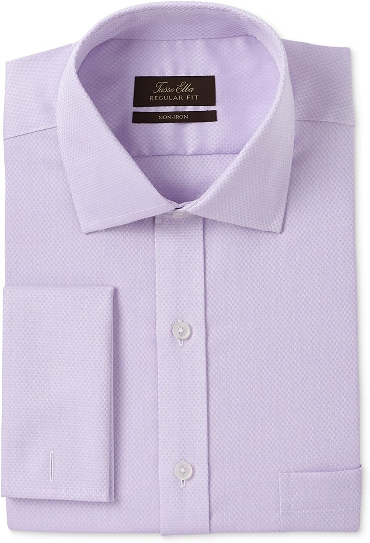 Tasso Elba Mens Non-Iron Button Up Dress Shirt, Purple, 17