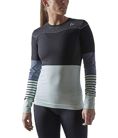 Craft Fuseknit Comfort Blocked Round Neck Long Sleeve (Black/Deco) Women