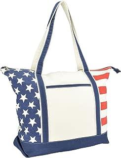 DALIX Flag Tote Bag USA American Pride Star Spangled Stars Stripes Shopping Grocery Bag