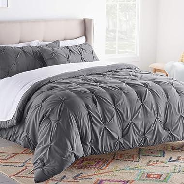 Linenspa All- Season Hypoallergenic-Plush Microfiber Fill-Machine Washable AlternativeComforter, King, Gray Pinch Pleat