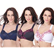 fca0a951f42 Curve Muse Plus Size Minimizer Unlined Wirefree Bra with Lace Embroidery- 3Pack