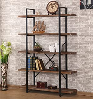 O&K FURNITURE 5-Shelf Industrial Style Bookcase and Shelves, Free Standing Storage Shelf Units,Vintage Brown