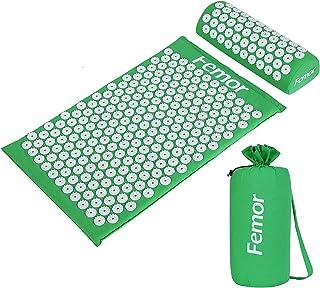 Femor Esterilla de Acupresión Kit con Almohada y Bolsa para Acupuntura y Moxibustión Yoga, para el Dolor de Espalda y Cuello Dolor Ciático, Insomnio, Alivio Muscular Relajación (Verde)