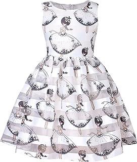 Speedeo 子供用 ドレス ノースリーブ 可愛い 蝶ネクタイ 女の子 キッズ ワンピース パーティー ピアノ 結婚式 入園式 発表会 演奏会 プリントドレス