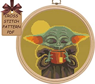 Baby yoda cross stitch pattern pdf, counted modern disney cute cross stitch sampler design, easy simple cross stitch chart for beginners, home wall decor DIY