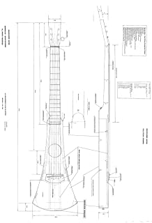 Full Scale Plans for making the Martin Backpacker Guitar - Actual Size plans, Very Detailed