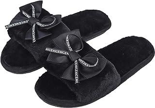 Irsoe Women and Girls Velvet Anti-Slip Soft Bottom Winter Slippers Wool Slip-On Indoor & Outdoor Fur Slippers