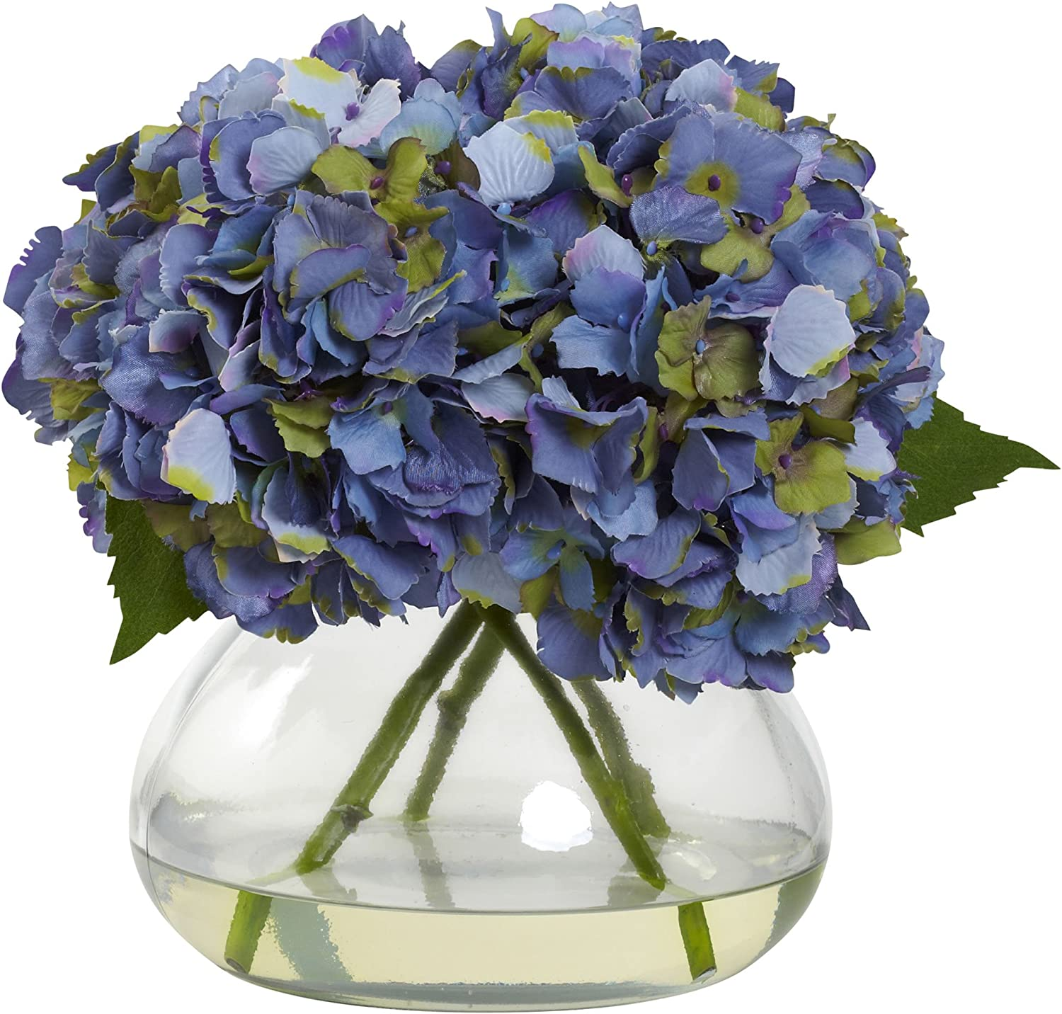Nearly Natural 1357-BL Blooming Hydrangea with Vase, Large, bluee