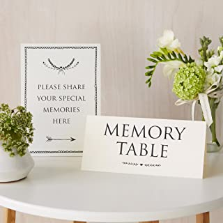 ANGEL & DOVE Set of 2 Card Signs: 'Memory Table' & 'Please Share Your Special Memories Here' in Ivory - Ideal for Funeral Condolence Book, Memorial, Celebration of Life