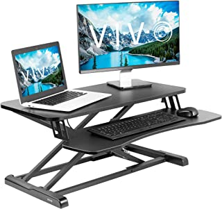 VIVO Black Height Adjustable 32 inch Standing Desk Converter | Sit Stand Dual Monitor and Laptop Riser Workstation (DESK-V000K)