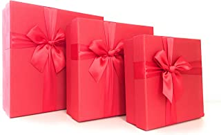 Cypress Lane Square Rigid Gift Box with Ribbon, 11 inches, a Nested Set of 3 (Red)