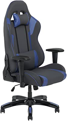 CorLiving LOF-832-G Racing Gaming Chair Grey and Blue