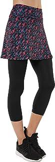 Slimour Womens Flat Printed Sport Skapri with Pockets Slit Side Skirt with Built-in Capri Legging