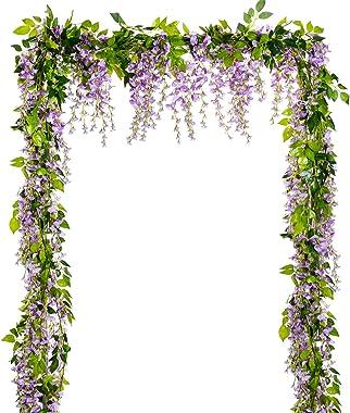 Lvydec Wisteria Artificial Flowers Garland, 4 Pcs Total 28.8ft Artificial Wisteria Vine Silk Hanging Flower for Home Garden O