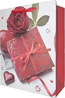 LARUX Gift Bag for Birthday Anniversary Mother's Day San Valentine with Wrapping Tissue Paper Long Lasting Small Size Set of 4 (Chocolate Box)