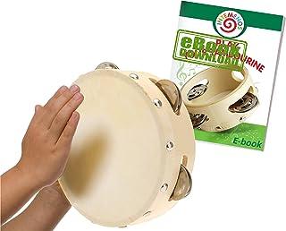 Tambourine for Kids - 6 inch Drum-Head Tamborines Musical Instrument with Metal Jingles
