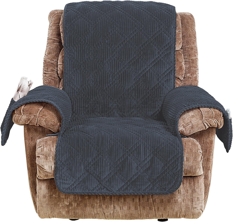 SureFit Wide Whale Recliner, Furniture Cover, Storm bluee