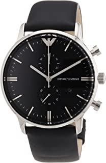 Emporio Armani Men's Black Dial Leather Band Watch - AR0397