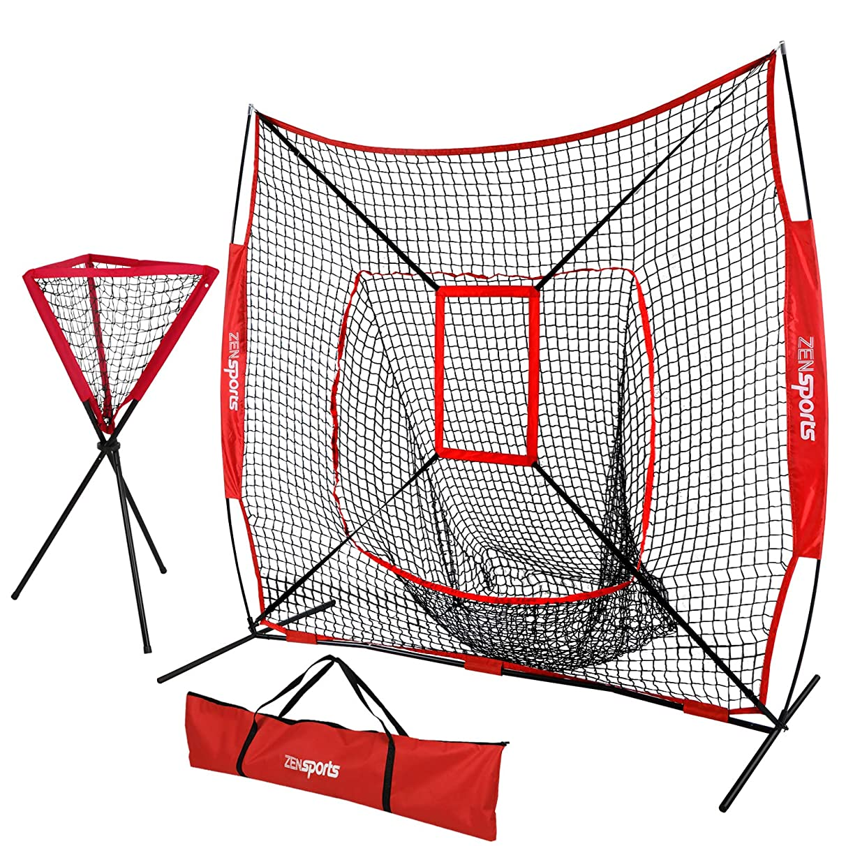 ZENsports 7' x 7' Baseball Softball Practice Hitting Pitching Net with Strike Zone Target and Bow Frame + Ball Caddy,Carry Bag,Great for All Skill Levels