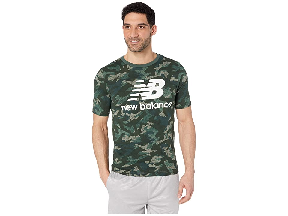 New Balance Essentials Stacked Logo Tee (Mineral Green) Men