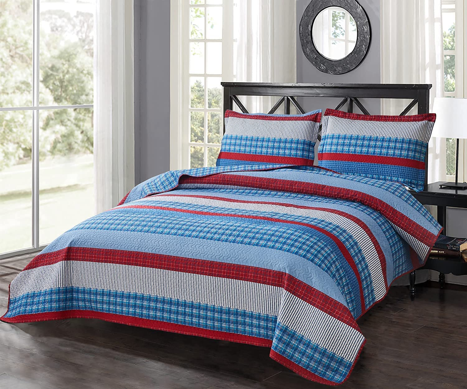 Stripe Bedding Sets Free shipping anywhere New Orleans Mall in the nation Lightweight Bedspreads Twin Rever 3Pcs Size