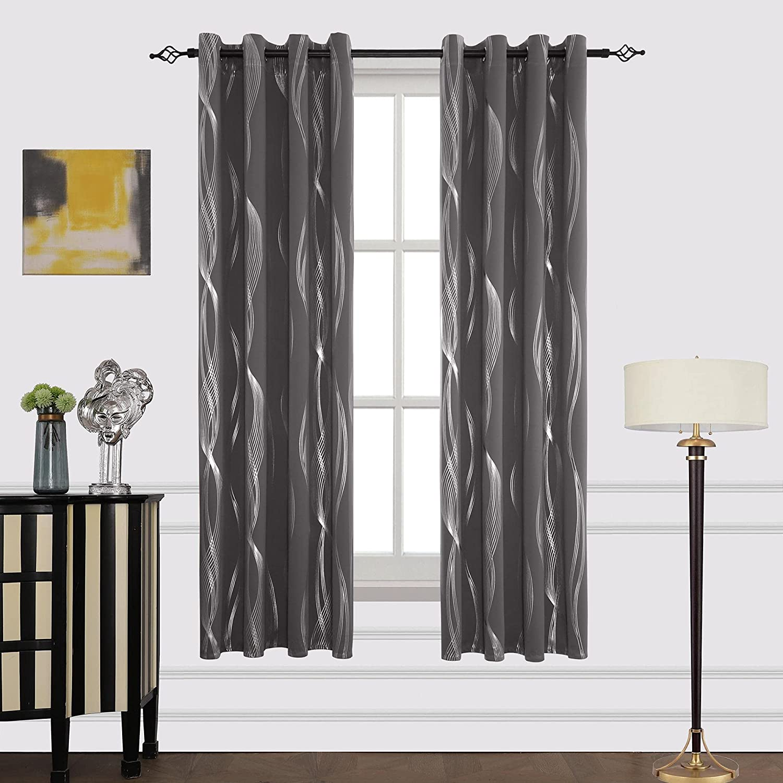 Mr.ing Blackout Curtains ご予約品 Foil Print Darkening Room Wave 爆買いセール Grommet