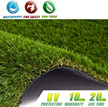Kunta Garden Premium Artificial Grass 7' x 13' (91 Square ft) 35mm Pile Height, Realistic Fake Grass Deluxe Synthetic Turf Thick Lawn Pet Turf, Perfect for Carpet Doormat Indoor/Outdoor Landscape