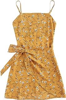 Jollymoda Women's Sleeveless Print Open Back Mini Cami Silm Dress