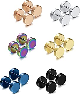 Jstyle Jewelry 3-7 Pairs Stainless Steel Mens Womens Stud Earrings Ear Plugs Tunnel