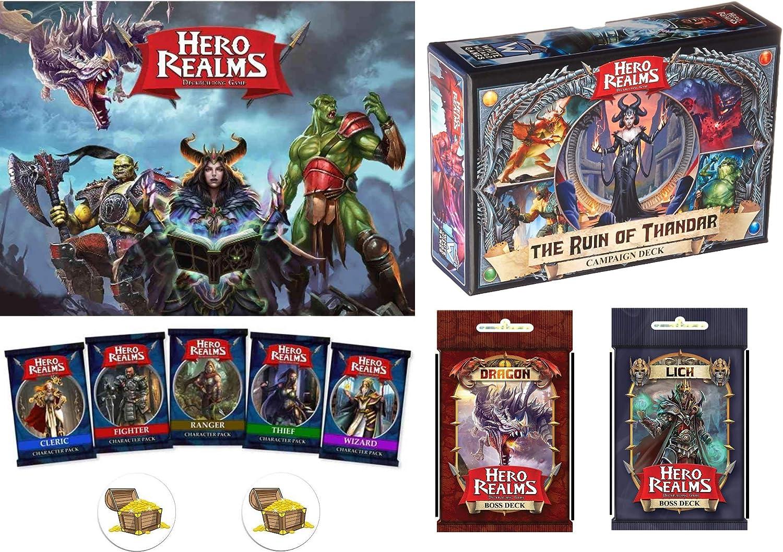 Hero Realms Max 72% OFF Grand Bundle of Tucson Mall Base Game Decks All Custom 5