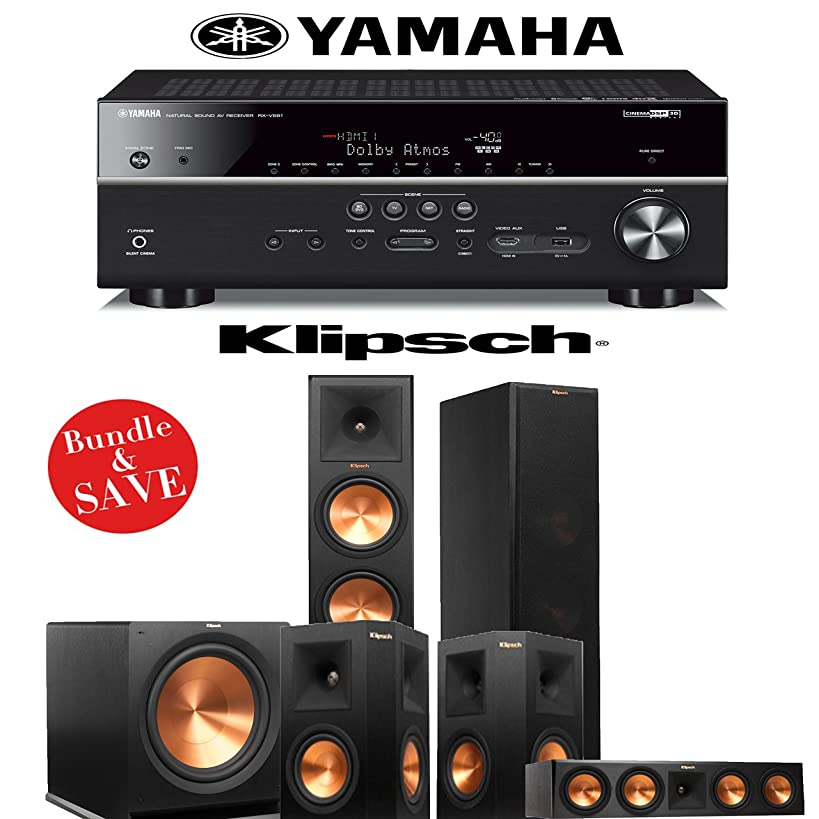 Klipsch RP-280F 5.1 Reference Premiere Home Theater System with Yamaha RX-V681BL 7.2-Channel A/V Receiver