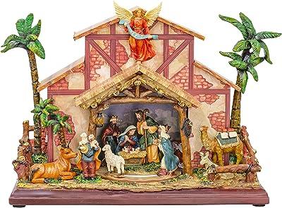 LED Nativity Dark Wood Scroll 10 x 6 Resin Holiday Rotating Musical Scene