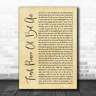 Fresh Prince of Bel-Air Rustic Script Song Lyric Quote Music Poster Gift Present Art Print