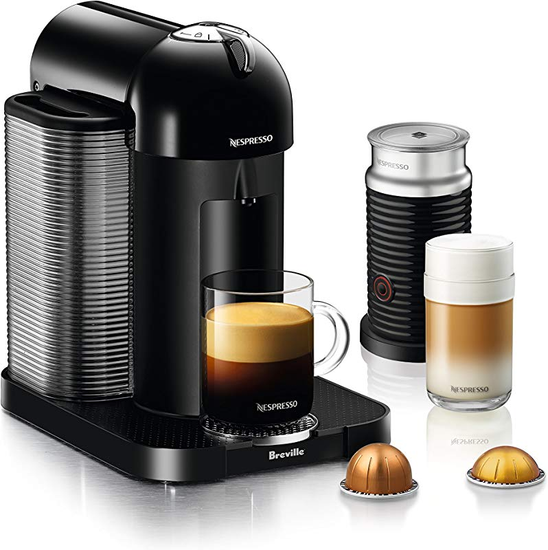 Nespresso Vertuo Coffee And Espresso Machine Bundle With Aeroccino Milk Frother By Breville Black