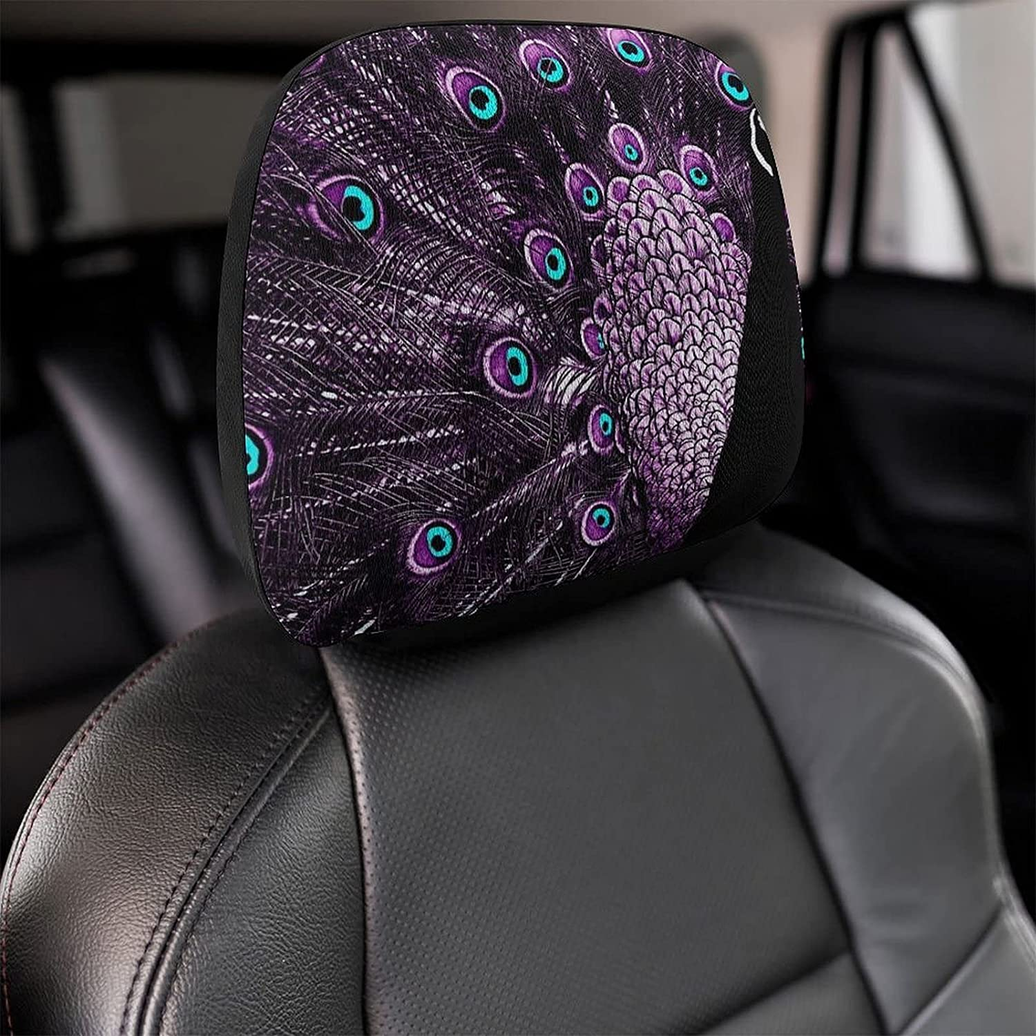 WXUEH Wonderful Purple Peacock Universal Headrest Cover Seat discount Car free shipping