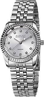 August Steiner Women's Coin Edge Luxury Dress Watch - White Dial with Diamond Hour Markers on Silver Stainless Steel President Bracelet - AS8046