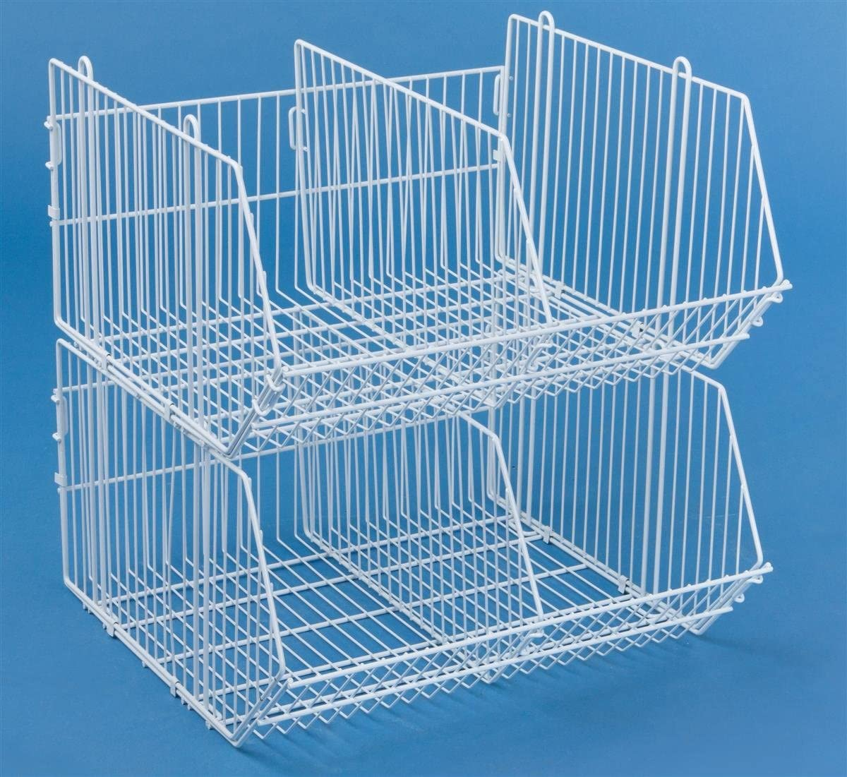 Displays2go Sale Stackable Wire Cheap mail order sales Dump Bins for White Floor