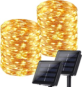 Brizled Solar String Lights Outdoor, 2 Pack Each 78.74ft 240 LED Solar Fairy Lights Waterproof, Solar Copper Wire Twinkle Lights 8 Modes, Solar Christmas Lights Decorative for Garden Party, Warm White