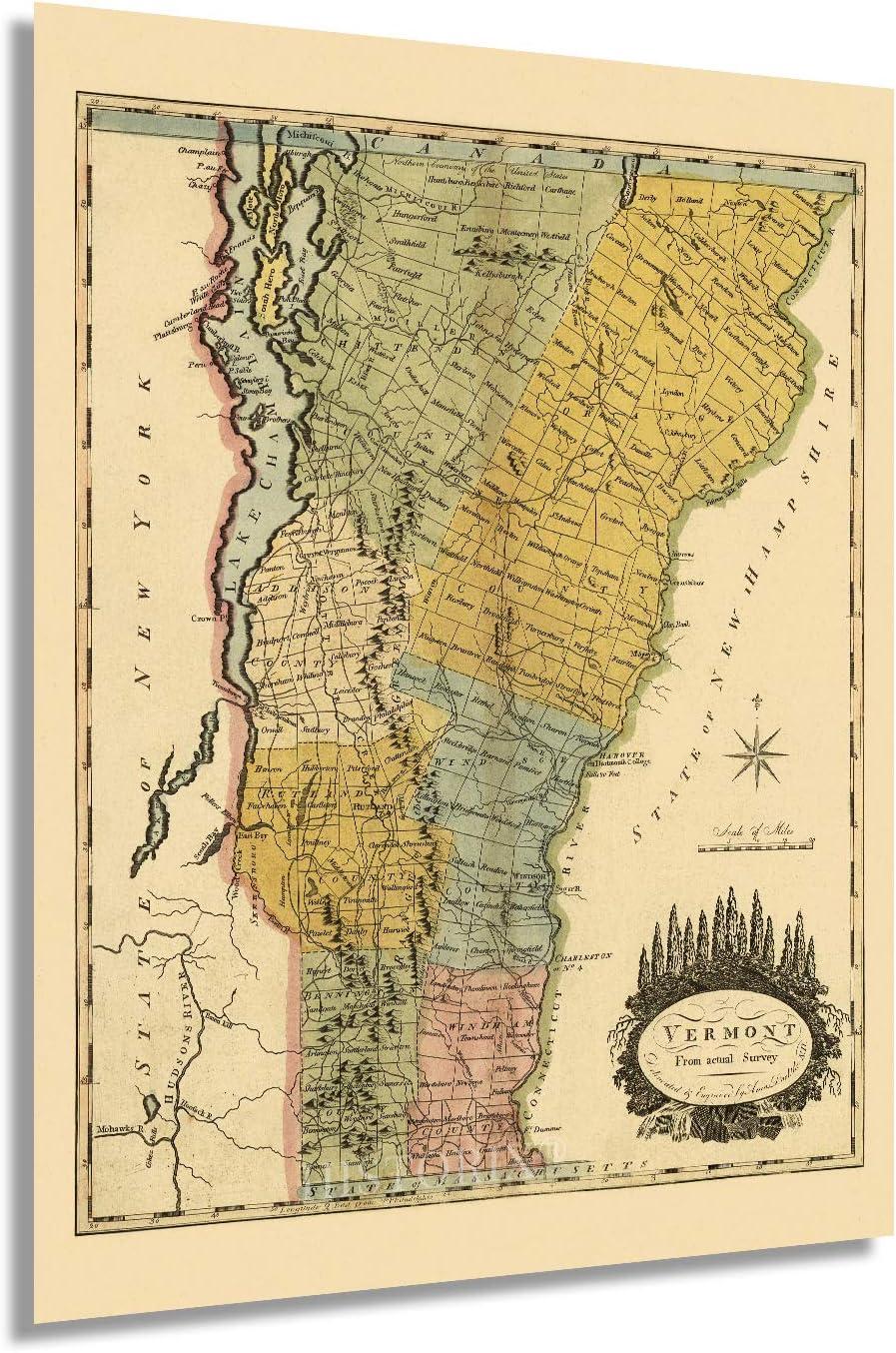 HISTORIX Vintage 1814 Vermont shop Map State - price Inch Vin 18x24