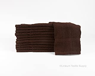 Linteum Textile (12-Pack, 16x27 in, Chocolate) Luxury Hand Towels, 100% Cotton