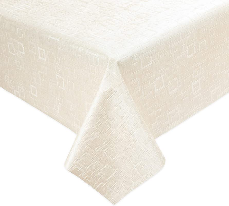 Luxury Table Protector Pad 2 In 1 Table Pad Great Looking Tablecloth Heat Resistant Spill Stain Proof Flannel Backing 54x108 Ivory Square