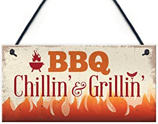 BBQ Chillin & Grillin Barbecue Outdoor Garden Plaque Kitchen Bar Shed Sign Gift For Dad