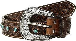 Nocona Diamond Emboss Belt w/ Turquoise Stones