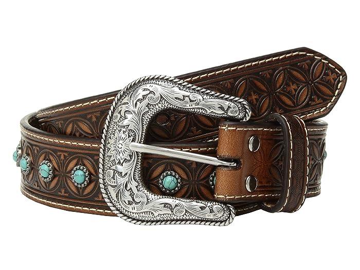 M&F Western Nocona Diamond Emboss Belt w/ Turquoise Stones (Tan) Men
