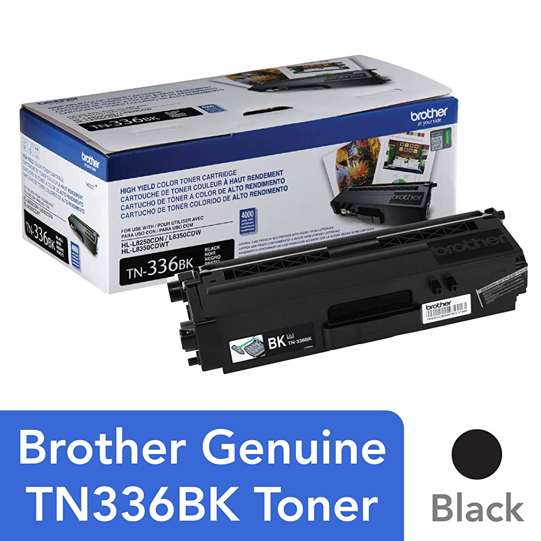 Brother Genuine High Yield Toner Cartridge, TN336BK, Replacement Black Toner, Page Yield Up To 4,000 Pages, Amazon Dash Replenishment Cartridge, TN336