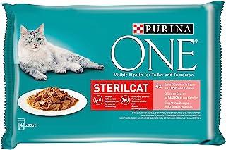 PURINA ONE Stericat Kattenvoer nat, delicate stukjes in saus voor gesteriliseerde katten, met zalm, verpakking van 4 (4 x ...