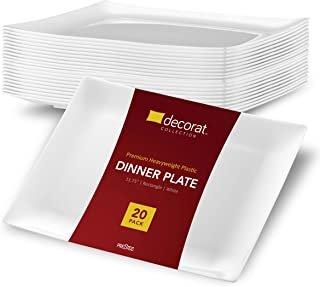 DECORAT WHITE PLASTIC PLATES/DINNER PLATES   11.75 Inch Party Plates - 20 Pack   Rectangle Disposable Plates   Elegant & Fancy Heavy Duty Party Supplies Plates for all Holidays & Occasions