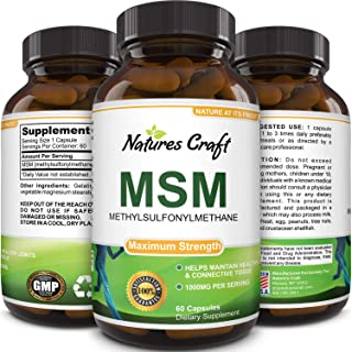 MSM Supplement For Humans – Natural Antioxidant Sulfur Vitamin for Healthy Joints – Digestive System Support Anti-Aging Co...