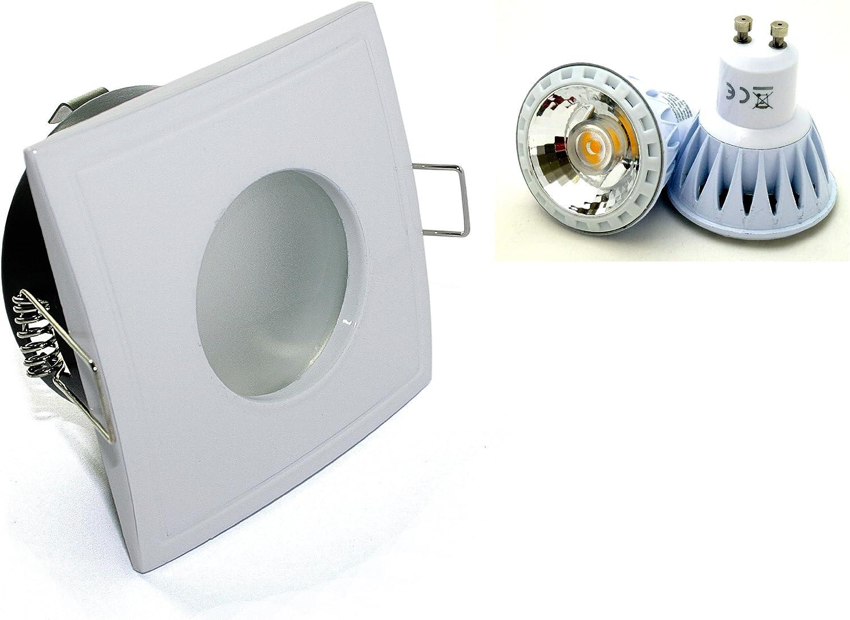 3er Set Einbaustrahler Aquarus-S Eckig 230V IP65 Farbe  Wei 7W Power Led Wei Dimmbar = 52W Halogenlampe